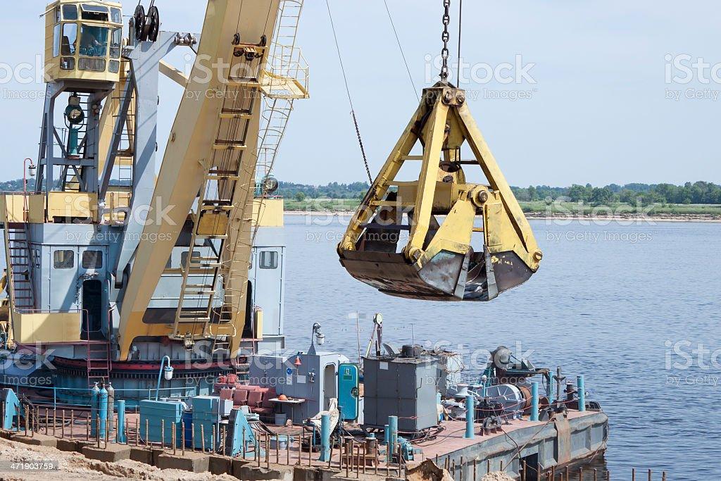 Work to strengthen the coastal strip royalty-free stock photo