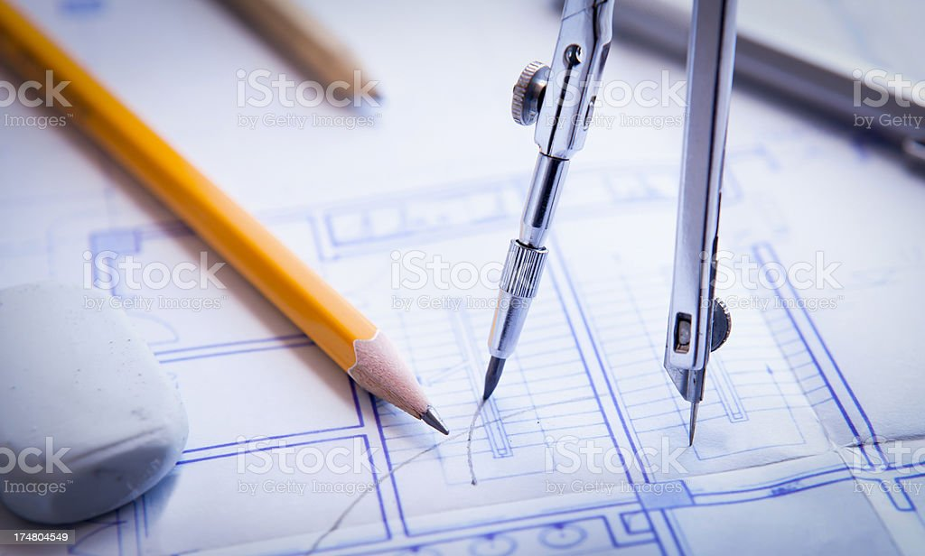 work tool on blueprints royalty-free stock photo