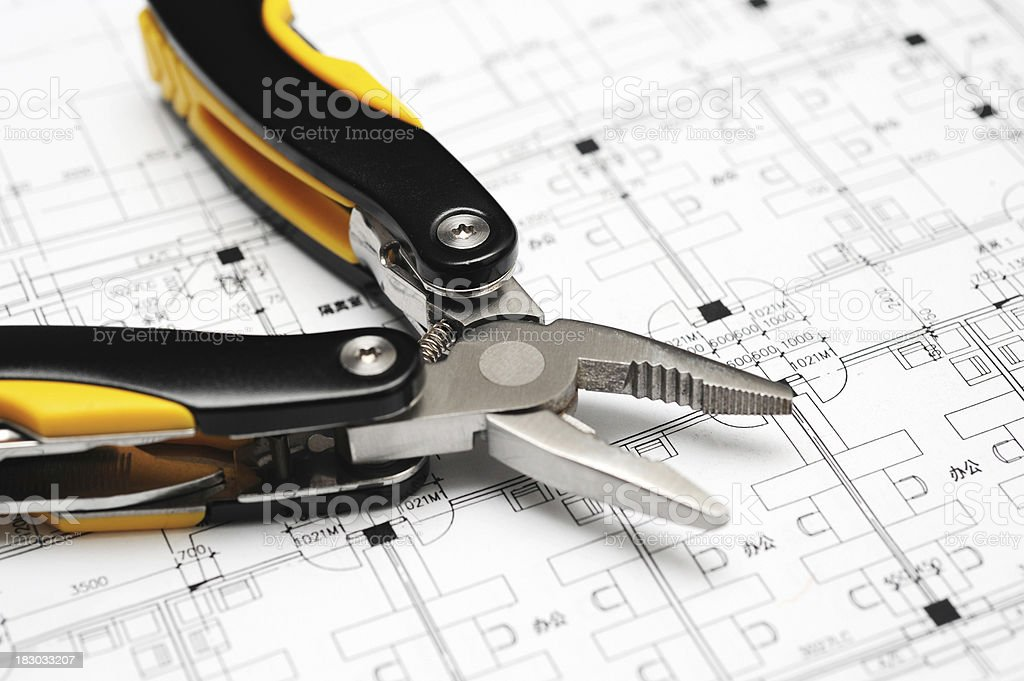 Work Tool On Construction Engineering Blueprint royalty-free stock photo