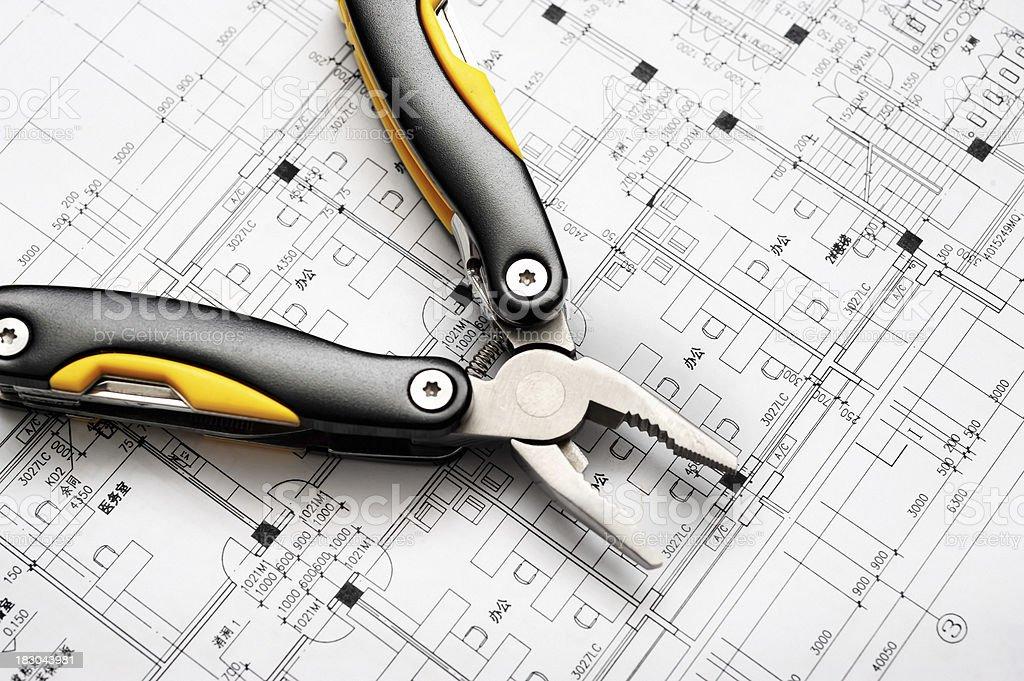 Work Tool On House Interior Engineering Blueprint royalty-free stock photo