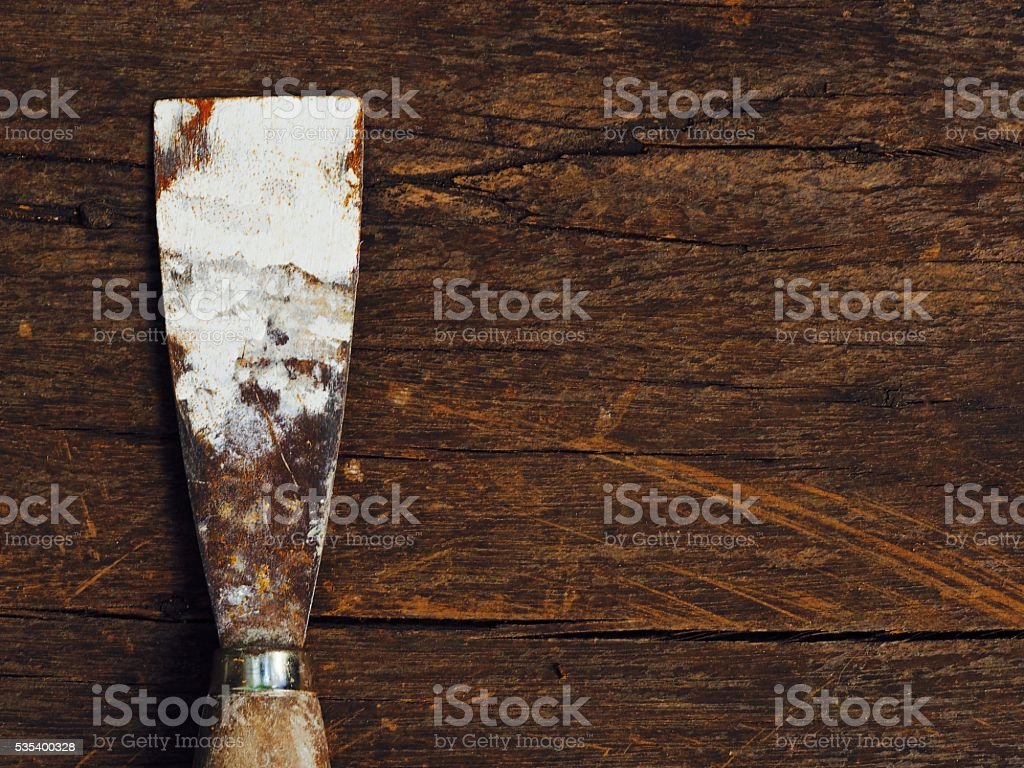 Work tool, very old and rusty trowel stock photo