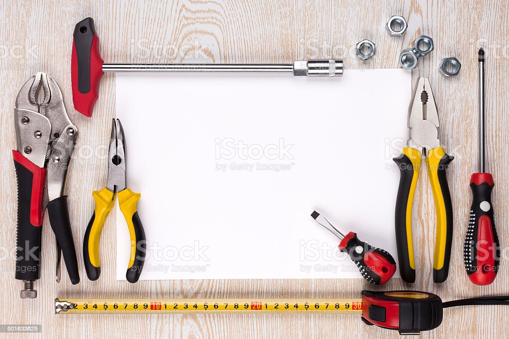 Work tools and a sheet of paper. royalty-free stock photo