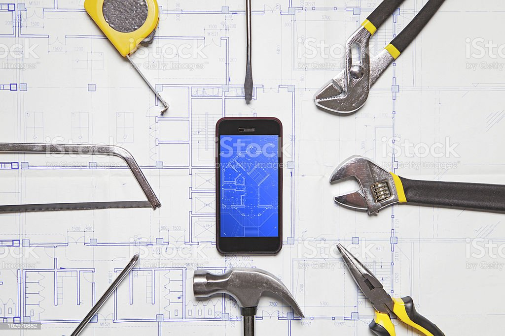 Work Tools and mobile phone royalty-free stock photo