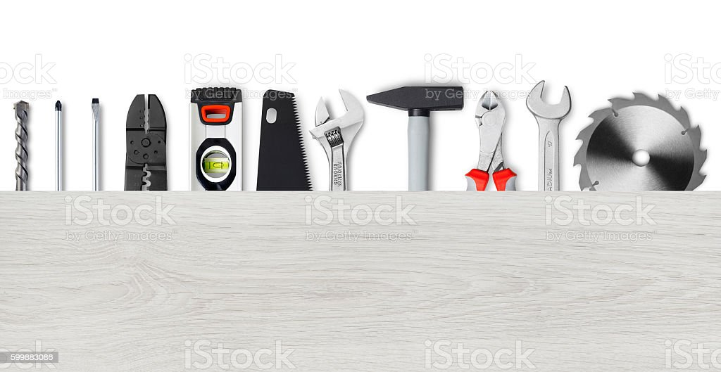 Work tools and wood board stock photo