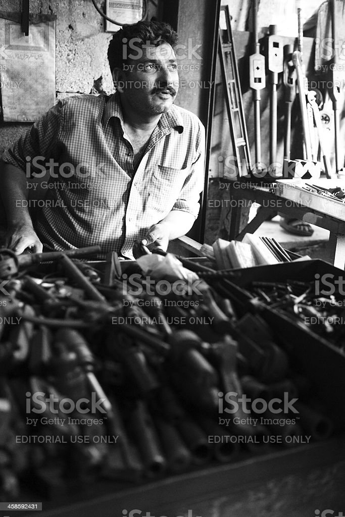Work Tools and Wrenchesl for sale Karachi Scrap Market royalty-free stock photo