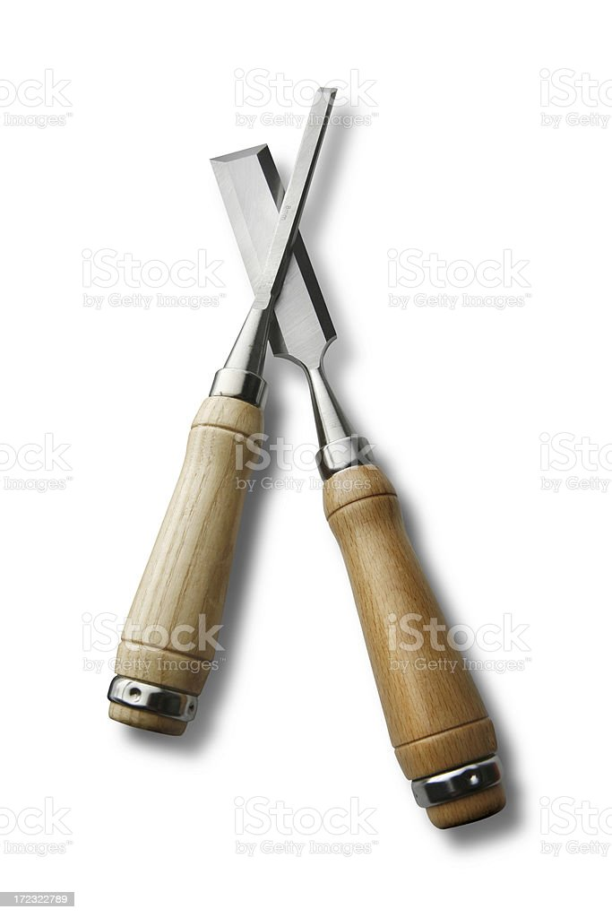 Work Tools: Chisels Isolated on White Background royalty-free stock photo
