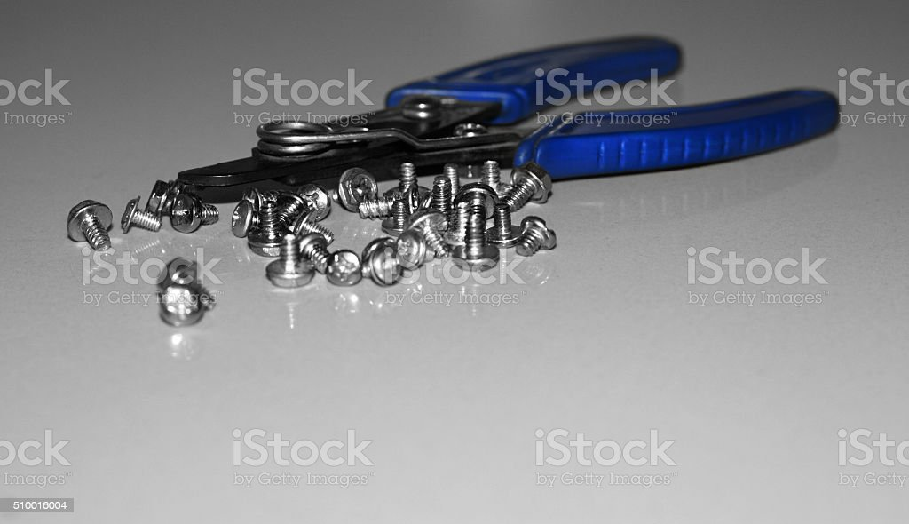 Work tools collection, repair industrial instruments stock photo