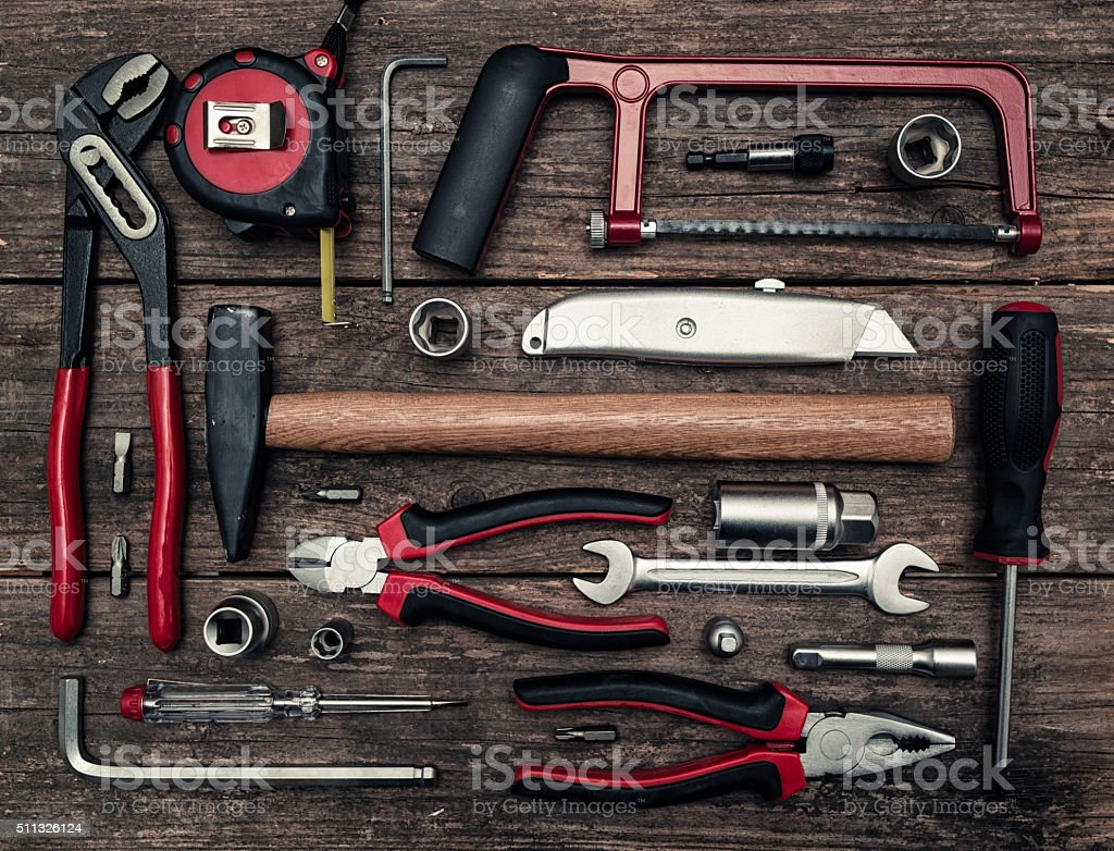 work tools flat lay stock photo