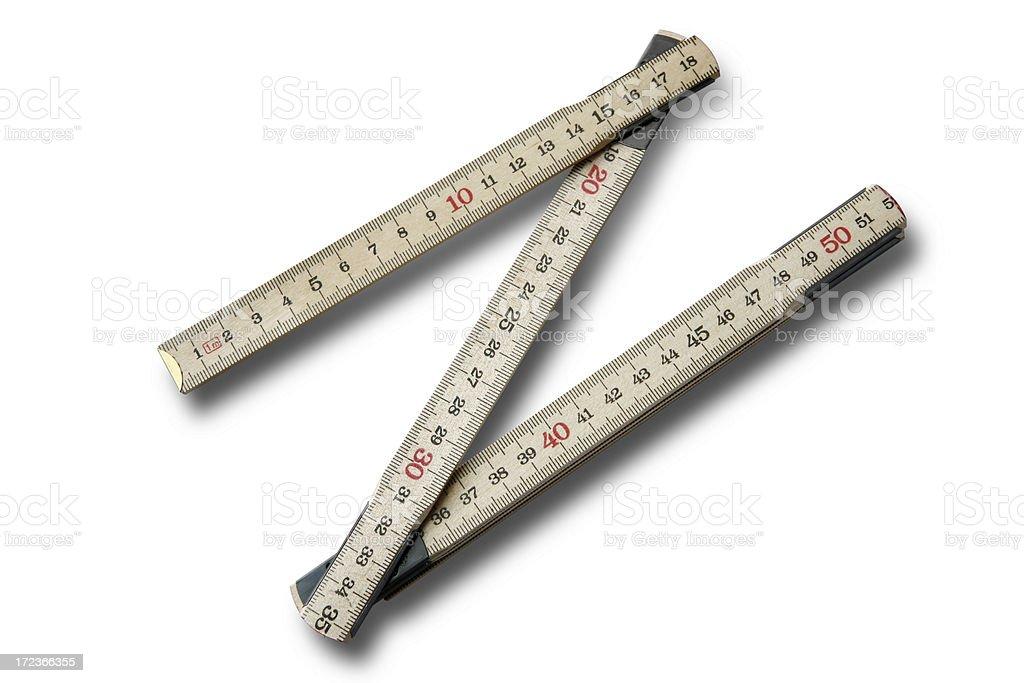 Work Tools: Folding Ruler Isolated on White Background stock photo