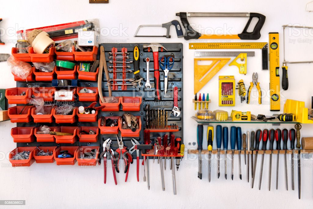 Work tools in a carpenter shop stock photo