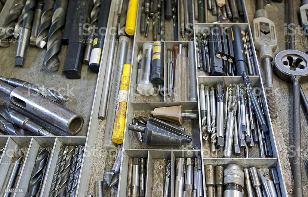 work tools in drawer stock photo