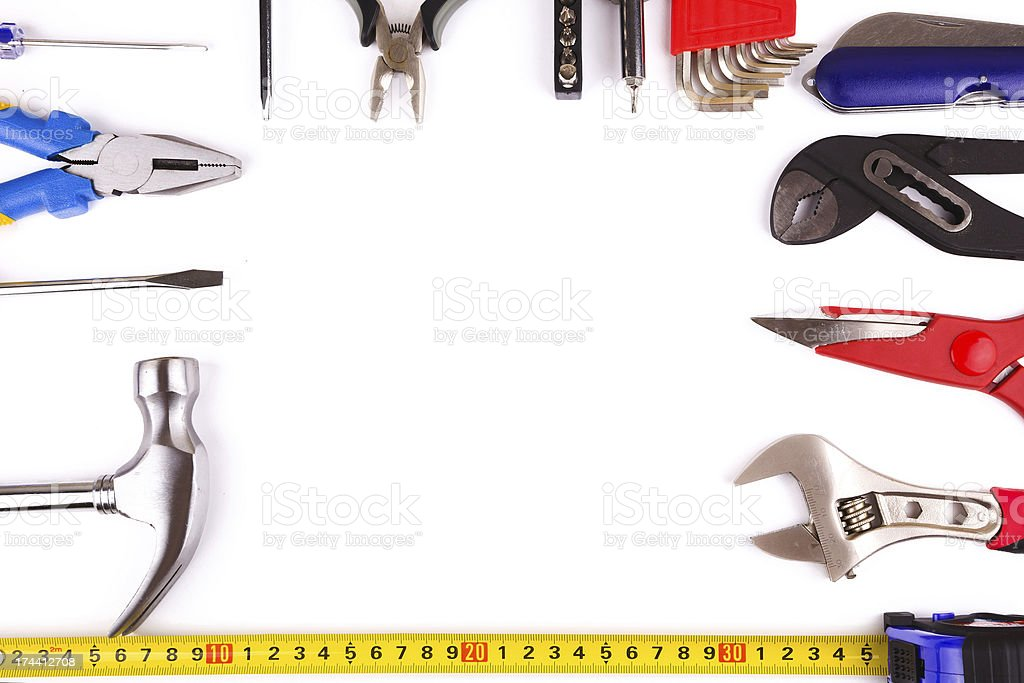 work Tools isolated on white background stock photo