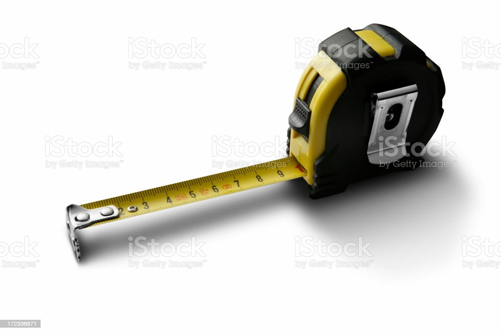 Work Tools: Measure Tape Isolated on White Background royalty-free stock photo