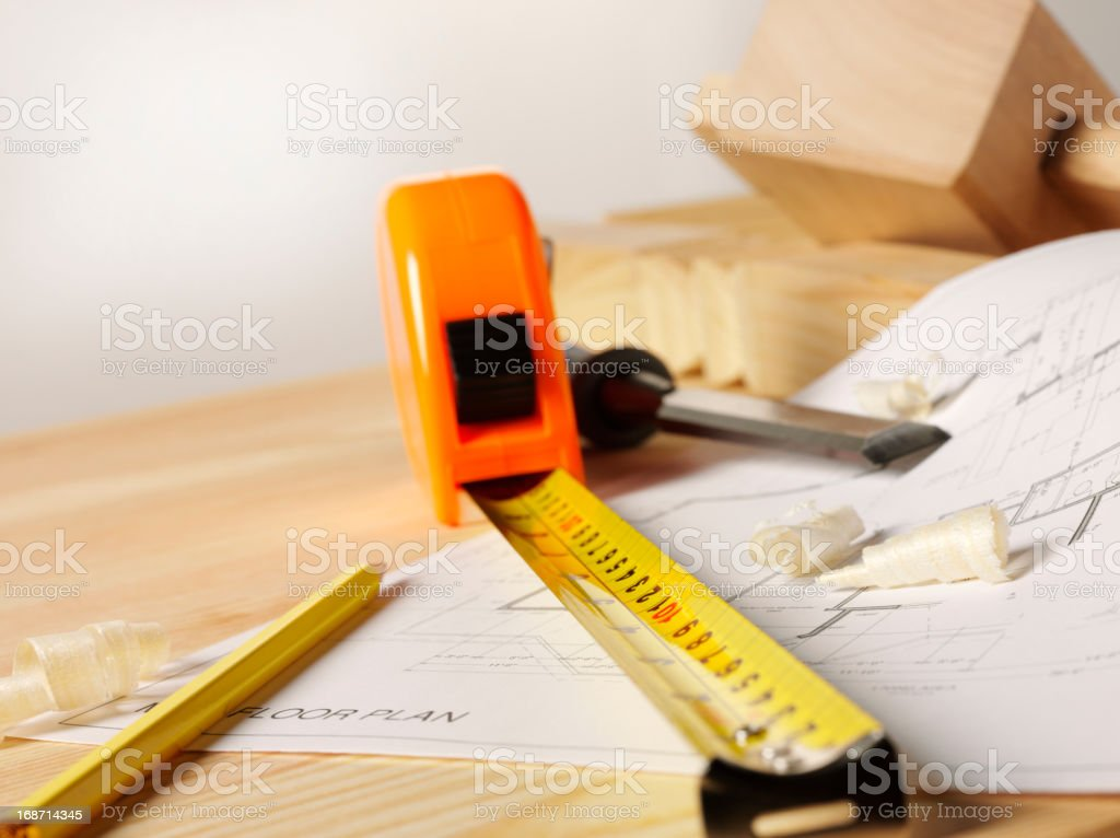 Work Tools on a Timber Bench stock photo