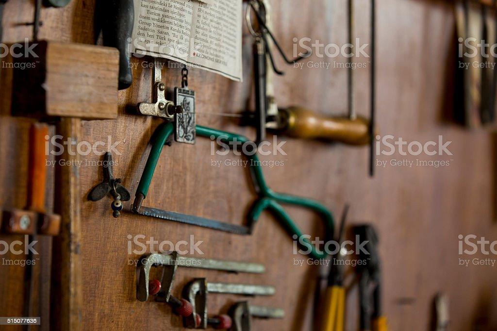 Work tools on a wooden stock photo