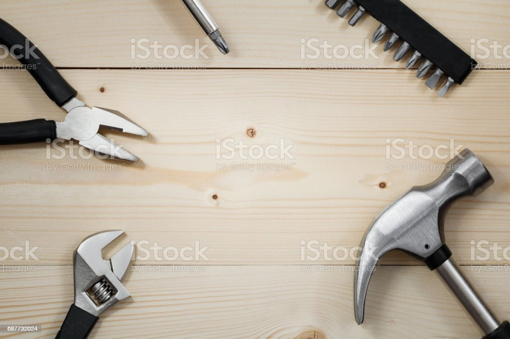 Work tools on a wooden table. Flat lay. Copy space. stock photo