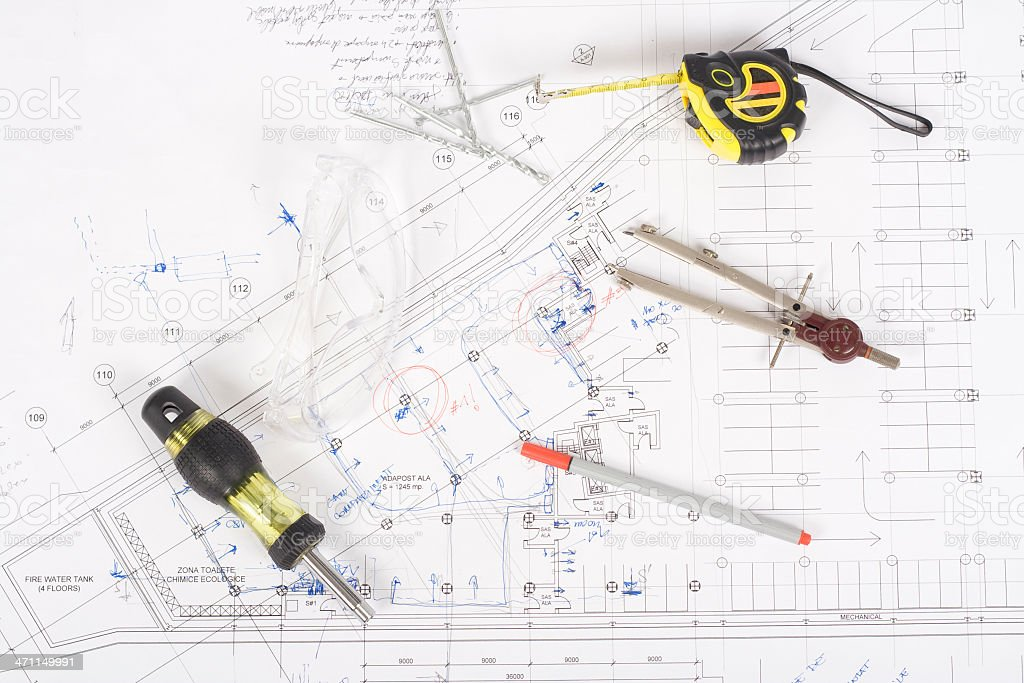 Work tools on blueprints stock photo