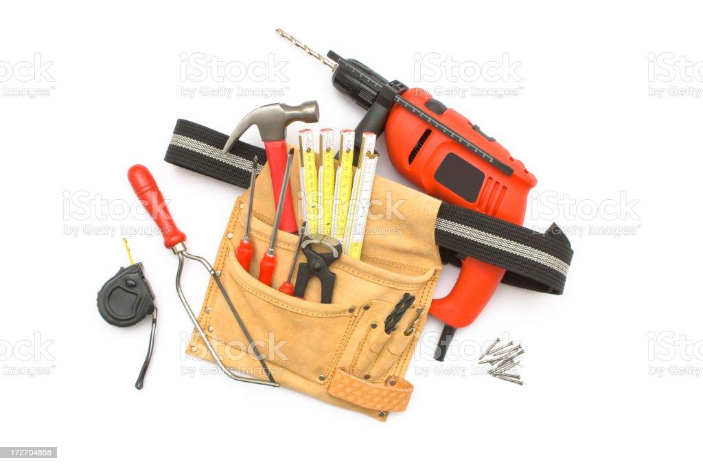 Work tools on white background stock photo