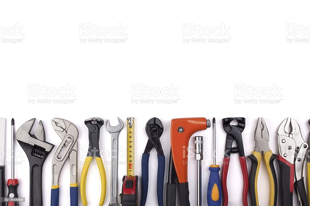 Work tools on white background. stock photo