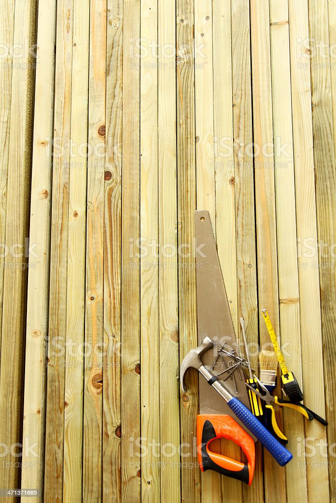 Work tools on wooden background royalty-free stock photo