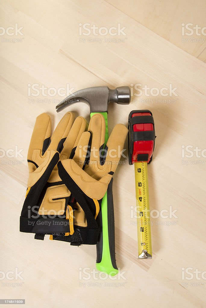 Work Tools On Wooden Background with Copy Space royalty-free stock photo