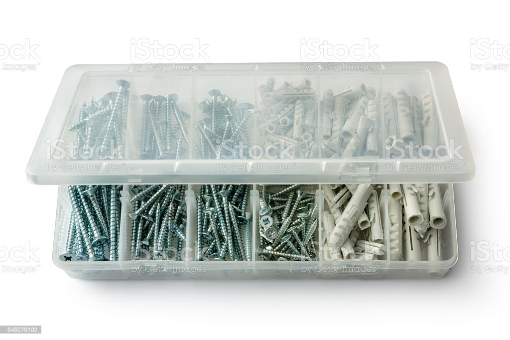Work Tools: Screws and Dowels in Plastic Box stock photo