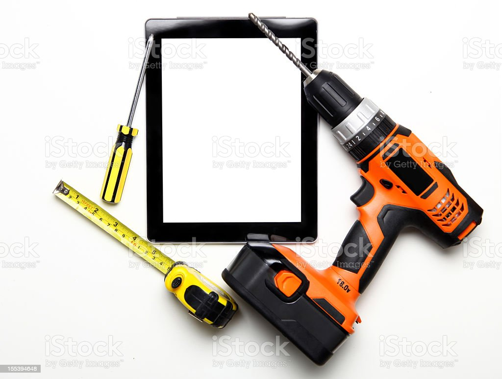 Work tools with digital tablet royalty-free stock photo