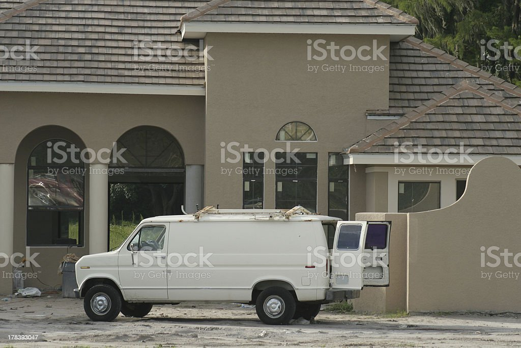 Work van on construction jobsite royalty-free stock photo