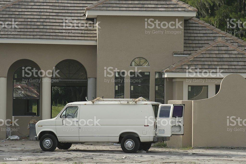 Work van on construction jobsite stock photo