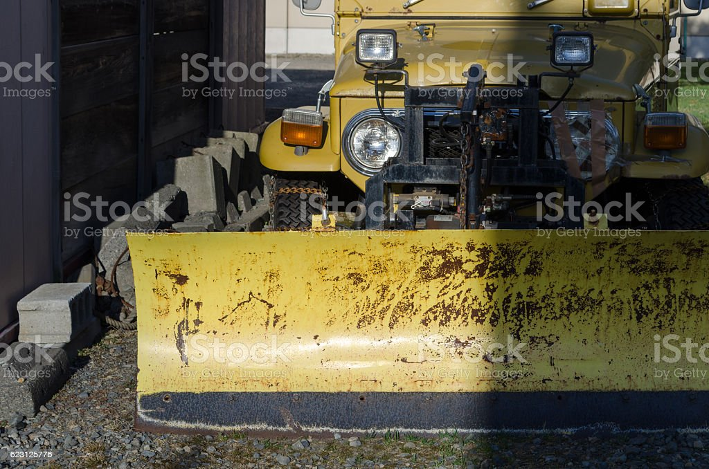 Work vehicle for snow removal stock photo