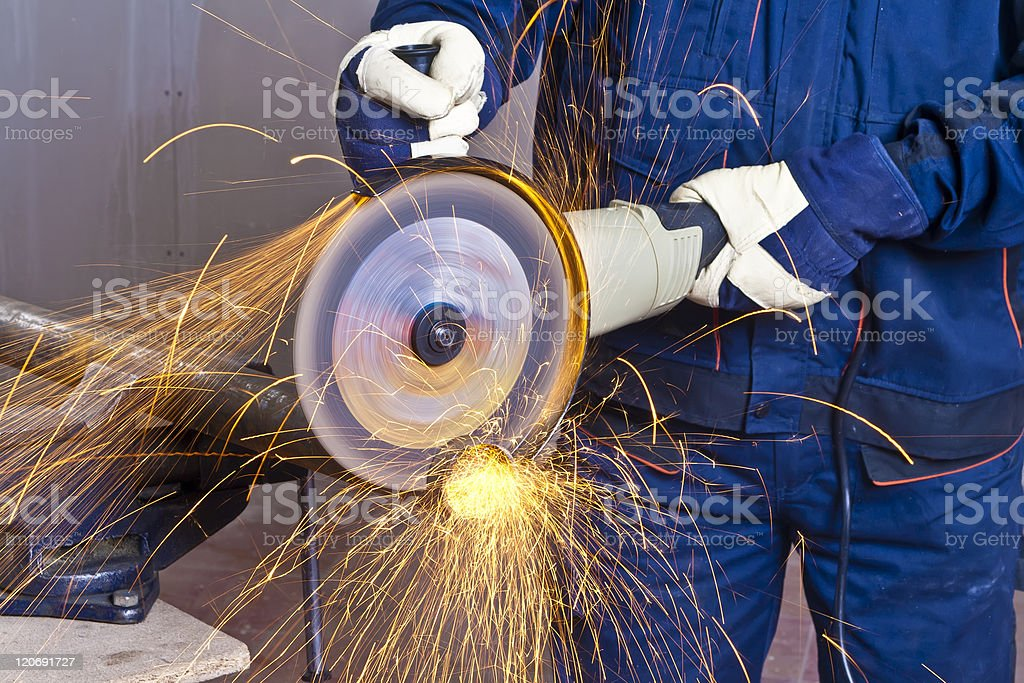 Work with grinder stock photo