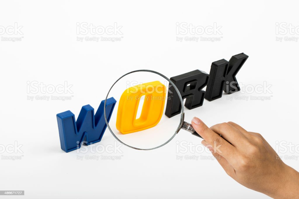 Work , Word with Magnifying Glass stock photo