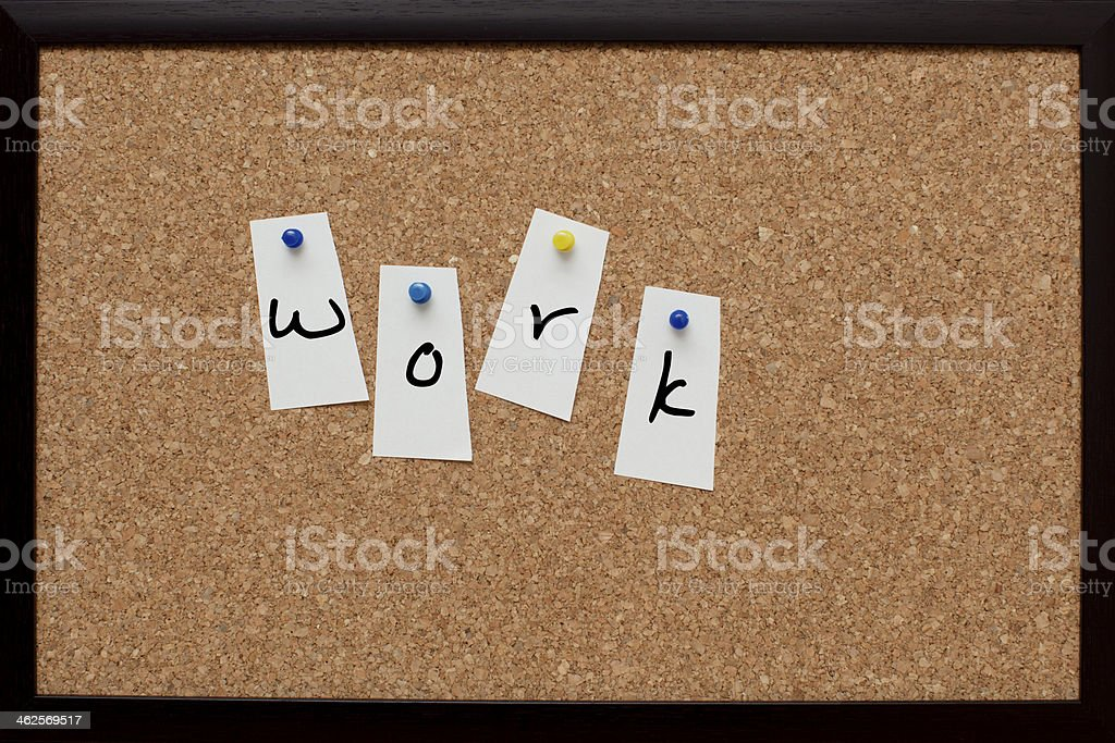 Work Words on Cork Board Notes - Stock Image stock photo