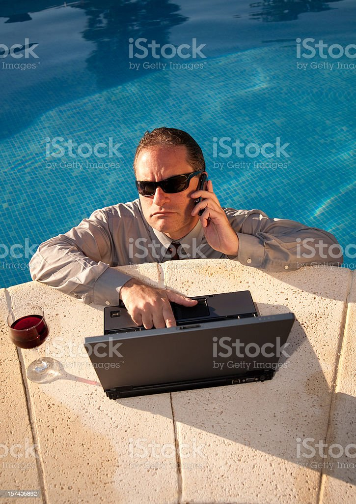 Workaholic on Vacation royalty-free stock photo