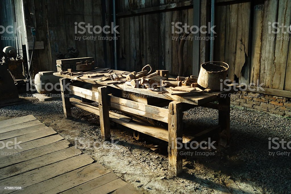 Workbench old train station stock photo