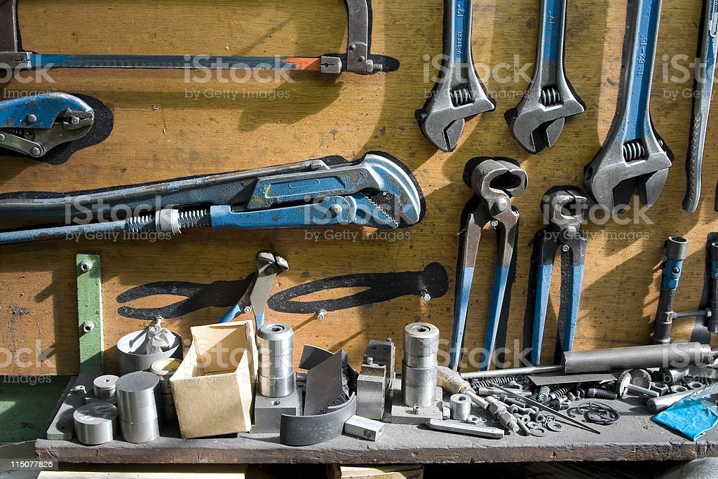 Workbench with blue tools royalty-free stock photo