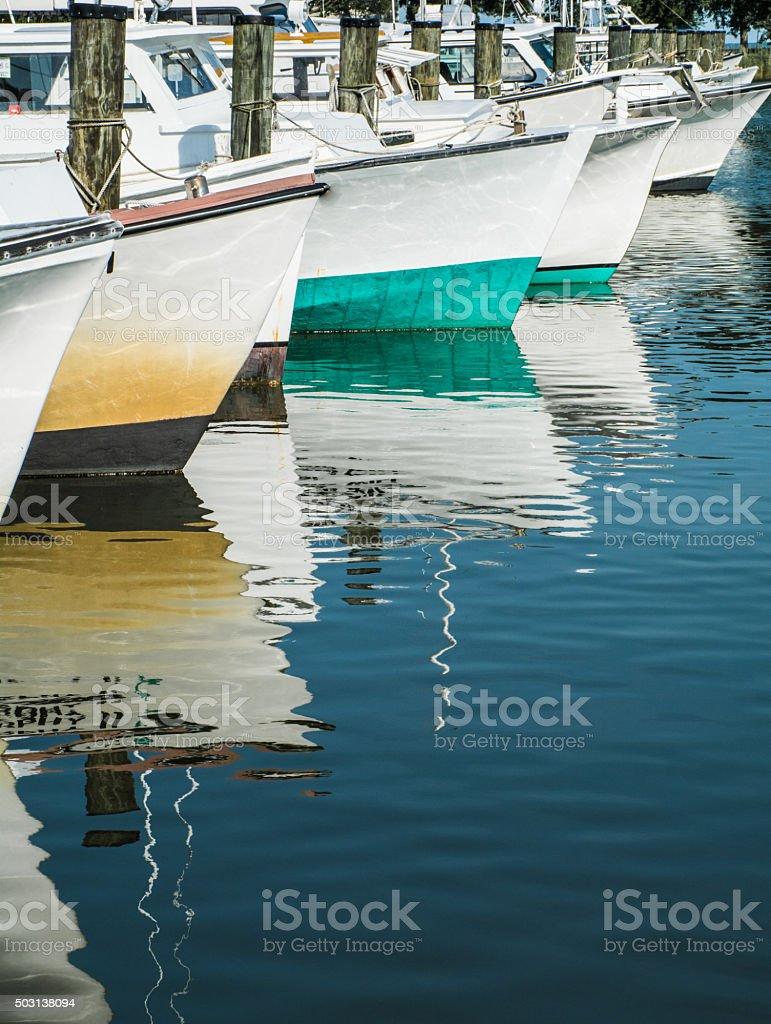 Workboats in Harbor stock photo