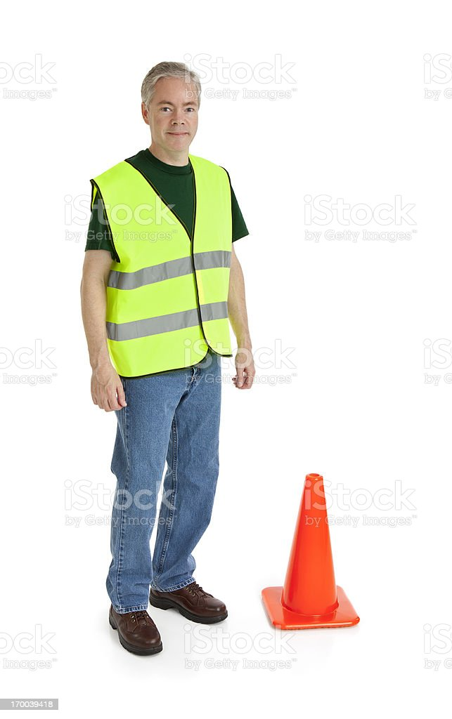 Worker and a Traffic Cone royalty-free stock photo