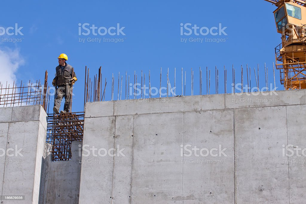 Worker and Concrete wall royalty-free stock photo