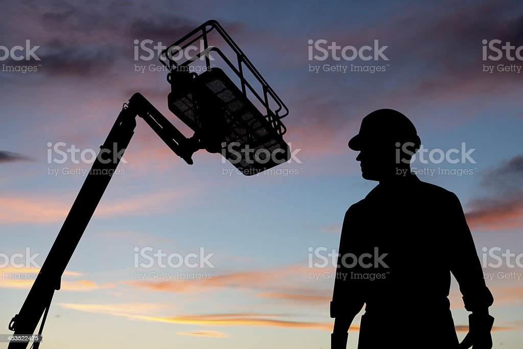 Worker and Lift royalty-free stock photo