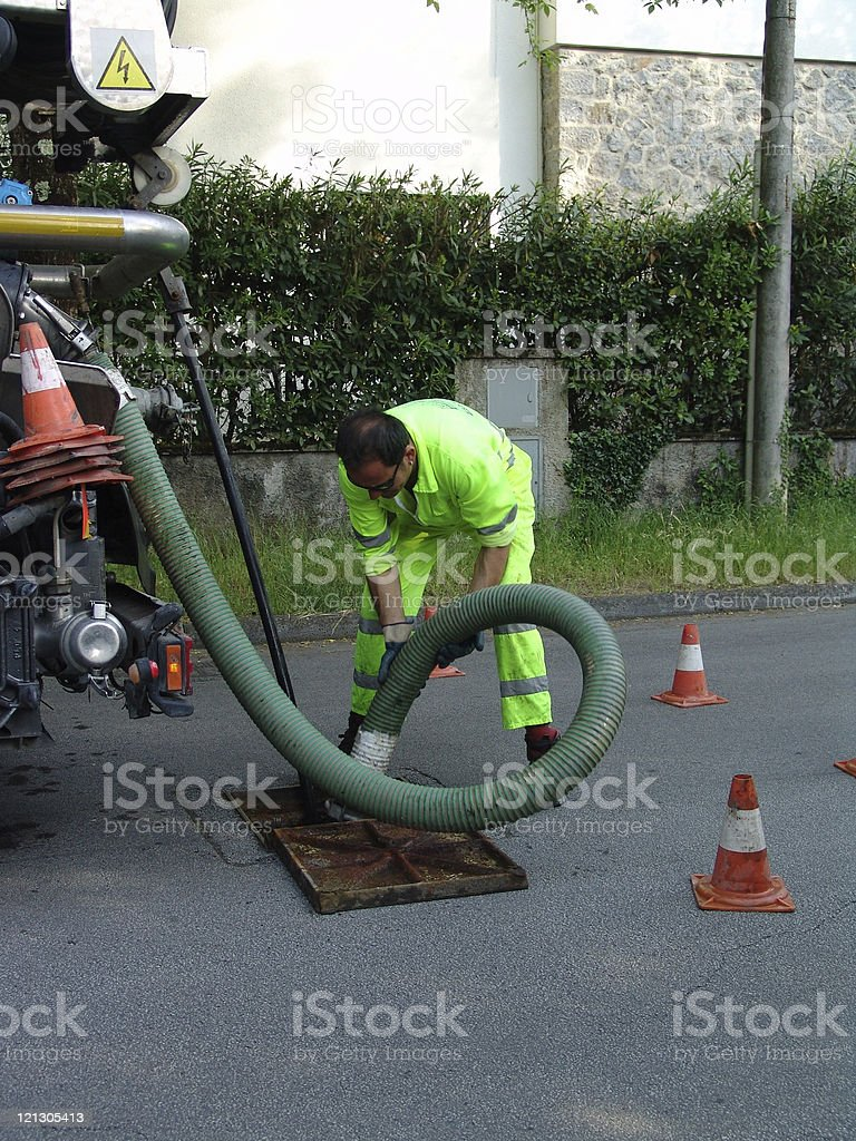 worker and sewage royalty-free stock photo