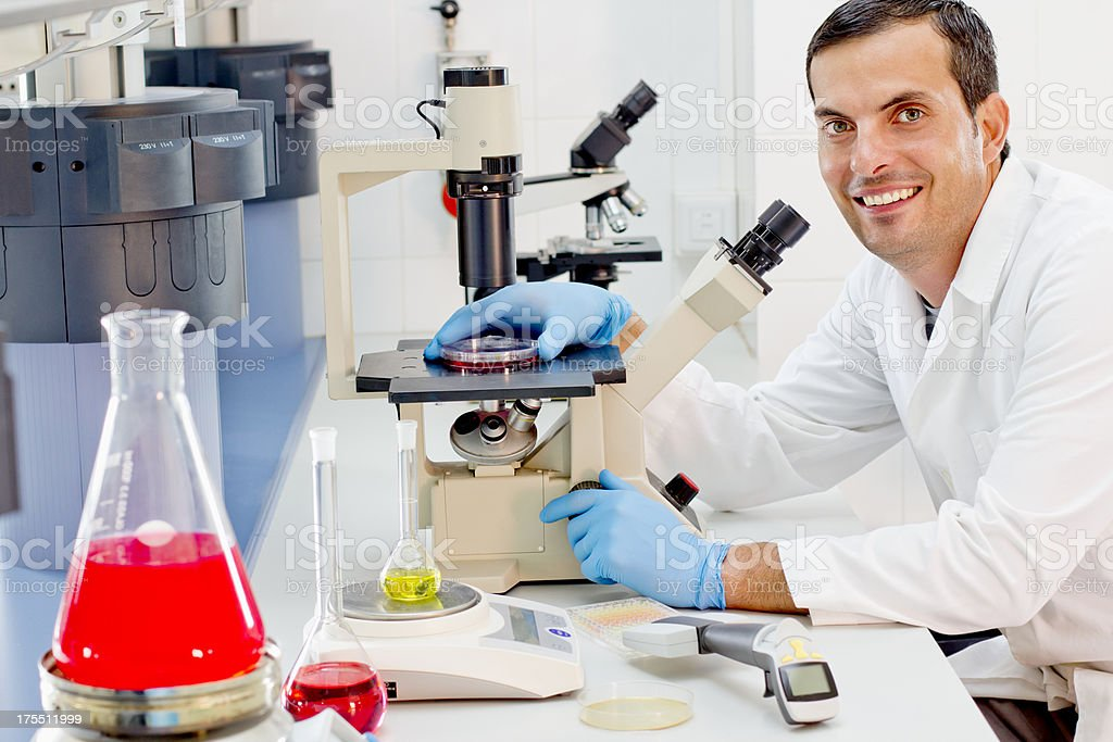 Worker at a pharmaceutical lab royalty-free stock photo