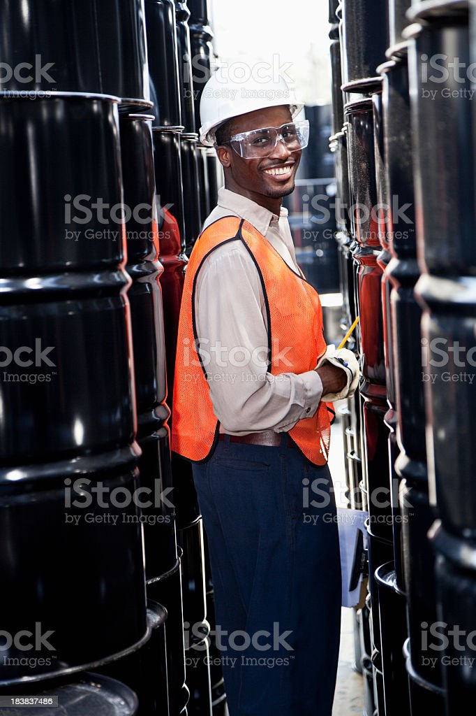 Worker at chemical plant royalty-free stock photo