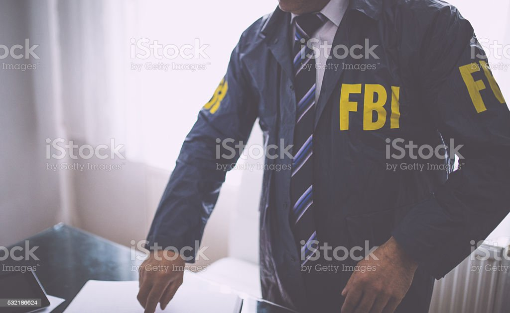 FBI worker at the office stock photo