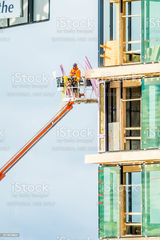 Ouvrier au Complexe Synergia stock photo