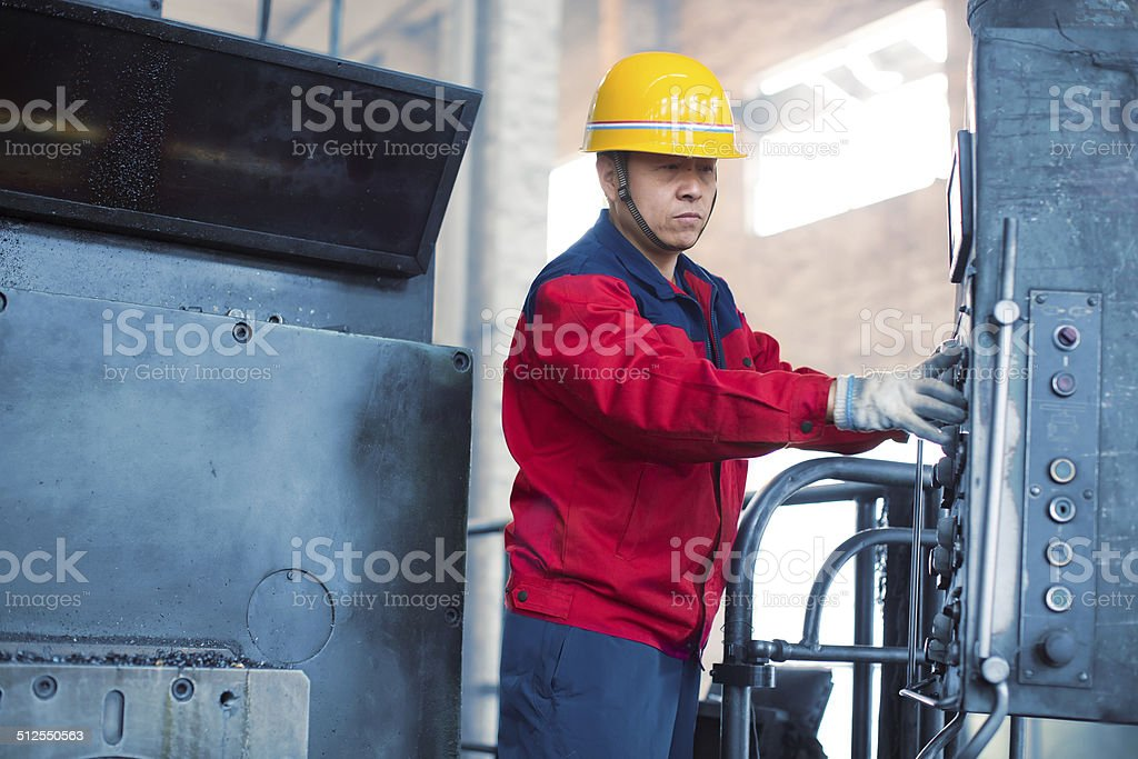 Worker at tool workshop stock photo