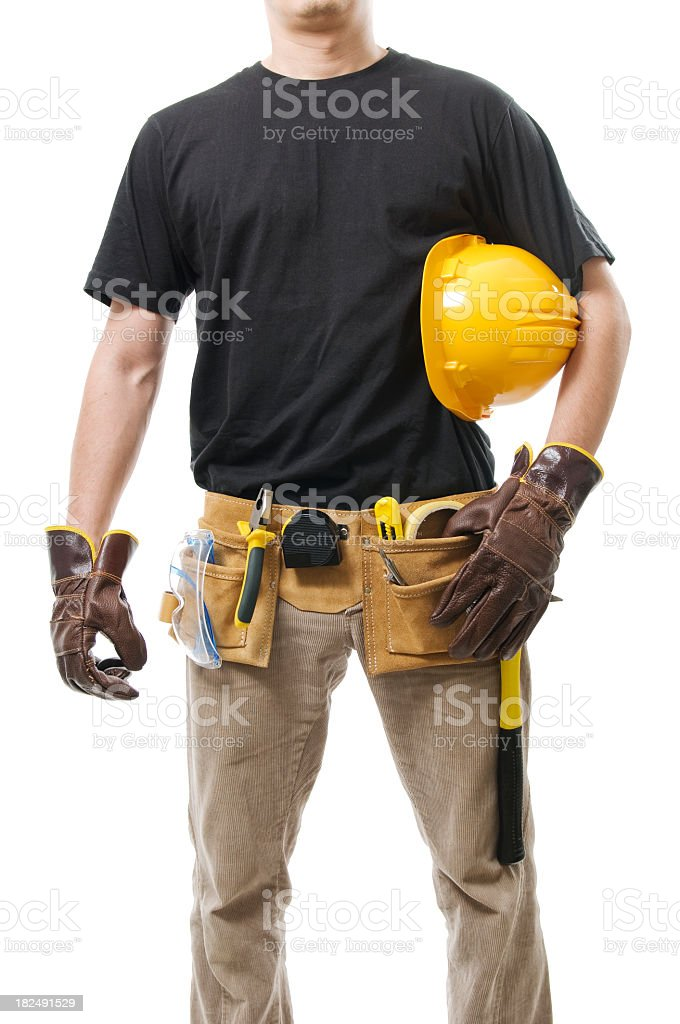 Worker body with tools royalty-free stock photo