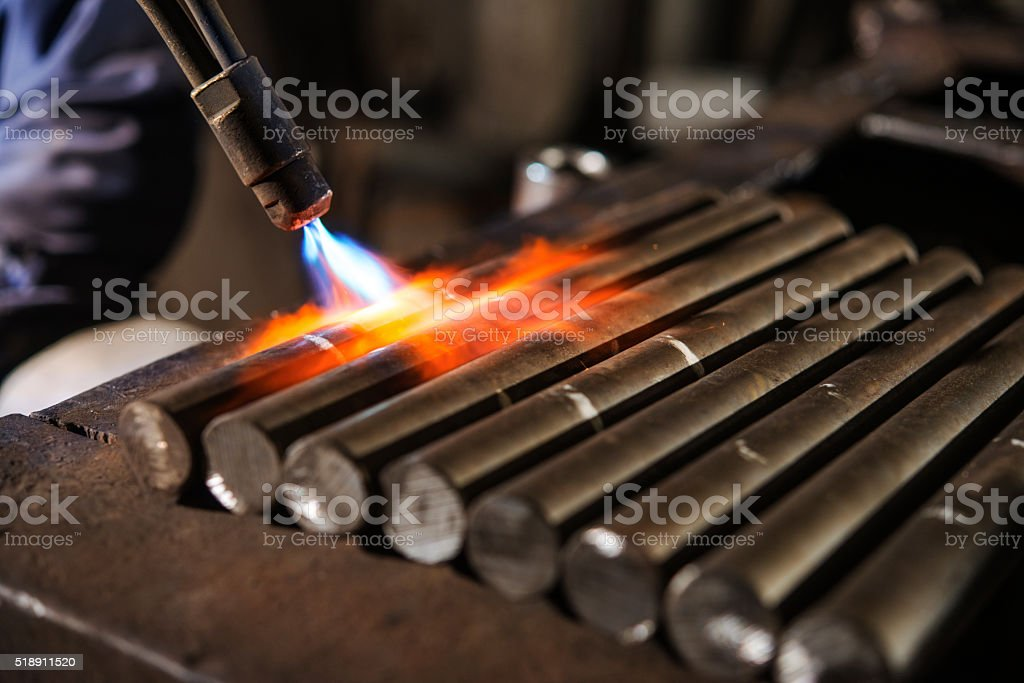 worker  burner heats details stock photo