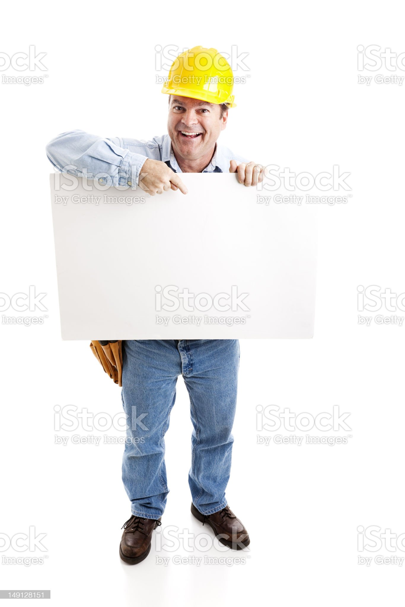 Worker Carries Blank Sign royalty-free stock photo
