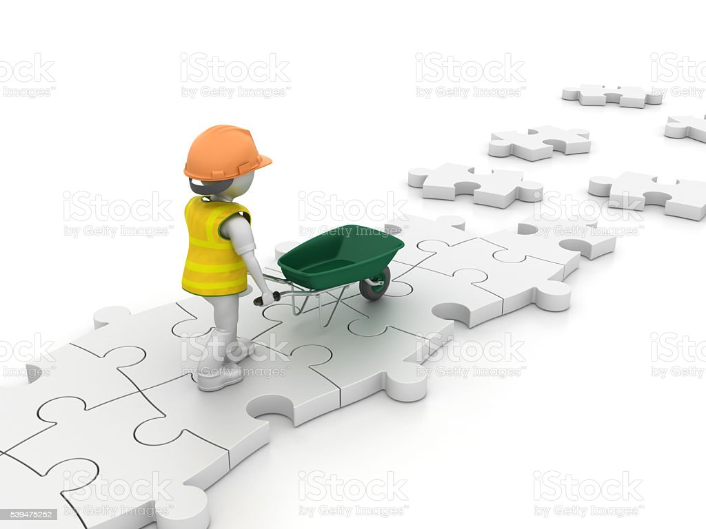 Worker Character with Wheelbarrow on Puzzle Pieces stock photo